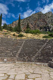 Panorama of Amphitheatre in Ancient Greek archaeological site of Delphi, Greece Royalty Free Stock Photos