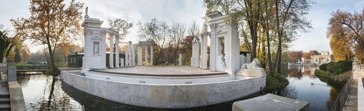 Panorama of Amphitheatre in Lazienki Park, Warsaw Royalty Free Stock Photography
