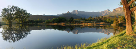 Panorama of The Amphitheatre, South Africa. A panorama of The Amphitheatre, in the Drakensberg mountain range of South Africa, reflected in the fly-fishing dam Royalty Free Stock Images