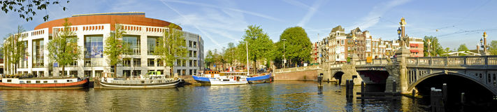Panorama from Amsterdam with the Amstel in Netherl Royalty Free Stock Photos