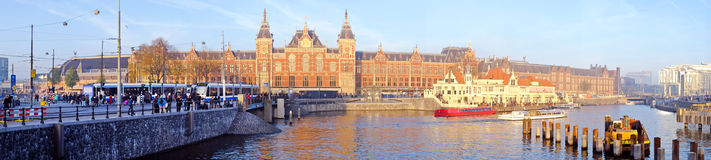 Panorama from Amsterdam with the Central Station the Netherla Stock Photos