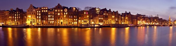 Panorama from Amsterdam with the Munt tower in the Netherlands a. T twilight Stock Photo