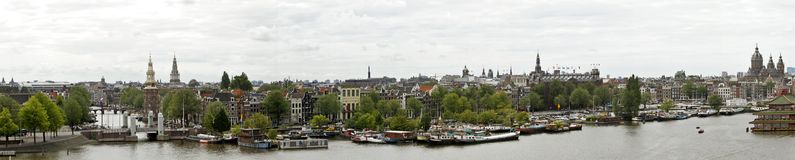 Panorama from Amsterdam in Netherlands Stock Photos