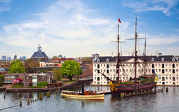 Panorama of Amsterdam with VOC Ship. View on Amsterdam and VOC Ship Royalty Free Stock Images