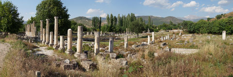 Panorama of ancient agora with Dorian  columns of  Aphrodisias, Stock Image