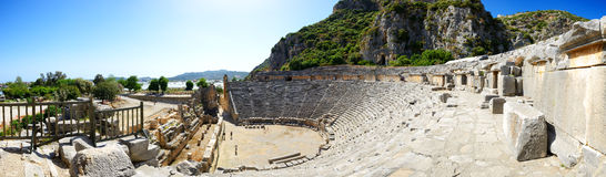 The panorama of ancient amphitheater in Myra Stock Image