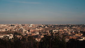 Panorama of the ancient city of Rome, Italy. Camera moving right. Sunny day in the capital stock footage