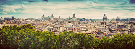 Panorama of the ancient city of Rome, Italy. Vintage Royalty Free Stock Photo