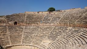 Panorama of the ancient Greco-Roman city. The old amphitheatre of Hierapolis in Pamukkale, Turkey. Destroyed ancient city in royalty free stock photography
