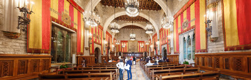 Panorama of ancient hall in city hall of Barcelona Stock Photos