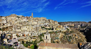 Panorama of ancient  Matera Royalty Free Stock Photography