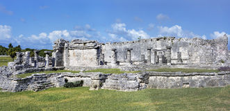 Panorama of the ancient Mayan buildings of Maya Civilization in Tulum Ruins, Mexico. Stock Images