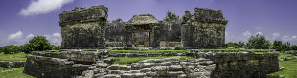 Panorama of Ancient Mayan ruin Tulum Mexico Stock Photos