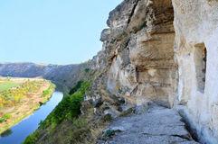 Panorama of ancient orthodox cave monastery Orheiul Vechi Stock Image