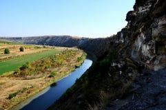 Panorama of ancient orthodox cave monastery Orheul Vechi, Moldova Stock Photo