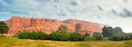 Panorama of the ancient Red Fort in Agra. India Stock Images