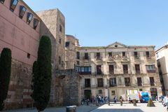Panorama of Ancient Roman Gate and Placa Nova, Barri Gothic Quar Royalty Free Stock Photo