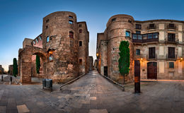 Panorama of Ancient Roman Gate and Placa Nova in the Morning, Ba Stock Photo