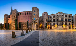 Panorama of Ancient Roman Gate and Placa Nova in the Morning, Ba Stock Image