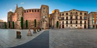 Panorama of Ancient Roman Gate and Placa Nova in the Morning, Ba Stock Photos