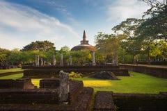 Panorama of ancient ruins in Polonnaruwa with Rankot Vihara Stock Photos