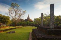 Panorama of ancient ruins in Polonnaruwa with Rankot Vihara Stock Photography