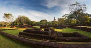 Panorama of ancient ruins in Polonnaruwa with Rankot Vihara Royalty Free Stock Photography