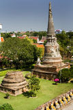 Panorama of ancient temples in Thailand. Temples and pagodas in Ayutthaia, ancient capital of Thai kingdoms, near Bagkok Stock Image