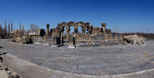 Panorama of ancient  Zvartnots (celestial angels) temple,Armenia Stock Photo