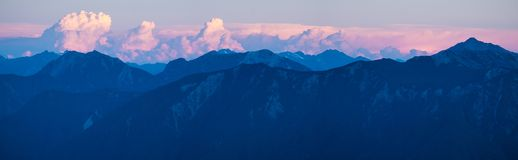 Panorama of the Andes. During sunset. Shot from volcano of Osorno in Chile stock image