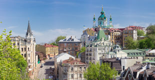 Panorama of Andrew`s Descent in springtime in Kiev Royalty Free Stock Photos