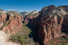 Panorama from angels landing in zion national park Stock Images
