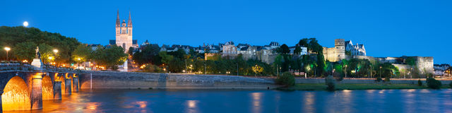 Panorama of Angers at night Royalty Free Stock Images