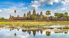 Angkor Wat temple in Cambodia. Panorama of Angkor Wat temple in Siem Reap, Cambodia in a summer day royalty free stock image