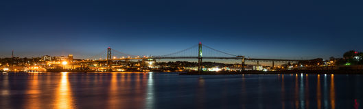 Panorama of Angus L. Macdonald Bridge that connects Halifax to D. Artmouth (Nova Scotia, Canada Royalty Free Stock Photography