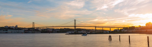 Panorama of Angus L. Macdonald Bridge at sunset Stock Photos