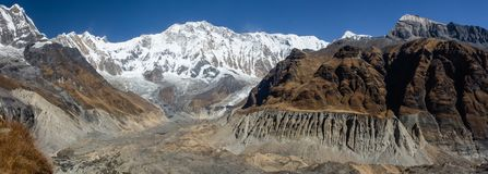 Panorama of Annapurna 1 and its glacier with clear blue sky, Himalayas. Panorama of Annapurna 1 and its glacier with clear blue sky as seen from Annapurna Base royalty free stock photo