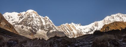 Panorama of Annapurna south and Annapurna 1 from Base Camp with clear blue sky, Himalayas. Panorama of Annapurna south and Annapurna 1 from Base Camp with clear royalty free stock photography