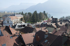 Panorama of Annecy city and lake Stock Images