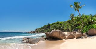 Panorama Anse Intendance przy Seychelles, Mahe wyspa fotografia royalty free