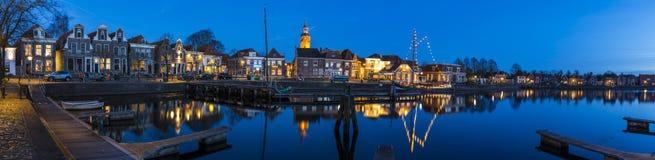 Panorama-Ansicht Blokzijl und Hafen-Nacht Lizenzfreie Stockfotos
