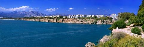 Panorama of Antaliya. Panorama of beautiful Mediterranean city Antaliya in summer in clear weather Stock Photo