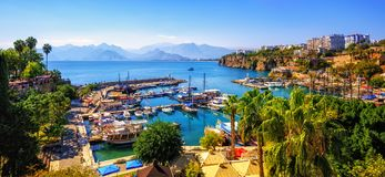 Panorama of the Antalya Old Town port, Turkey royalty free stock image