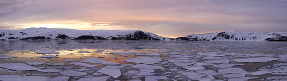 Panorama Antarctica Summer Sunset. Arctic glow at sunset in summer in Whalers Bay, Deception Island, Antarctica Royalty Free Stock Photography