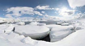 PANORAMA antarctique de l'hiver Photographie stock libre de droits