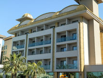 Panorama of Anthalya city with majestic hotel complex royalty free stock photography