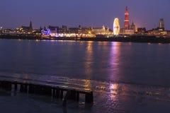 Panorama of Antwerp across Scheldt River Royalty Free Stock Images