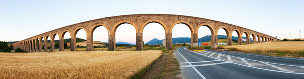 Panorama of  aqueduct near Pamplona. Navarre Royalty Free Stock Photo