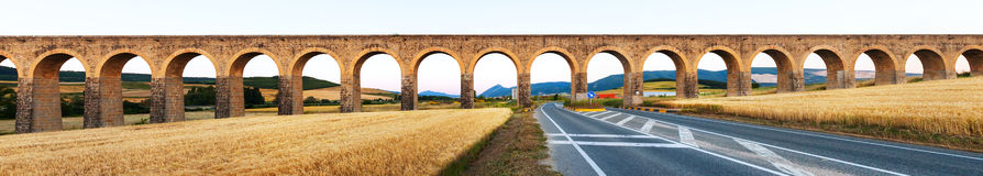Panorama of aqueduct near Pamplona stock photography