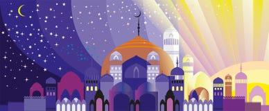 Panorama Arabski miasto ilustracja wektor
